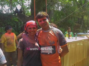 Sameer Dharmadhikari and Deepali Amberkar Playing Holi